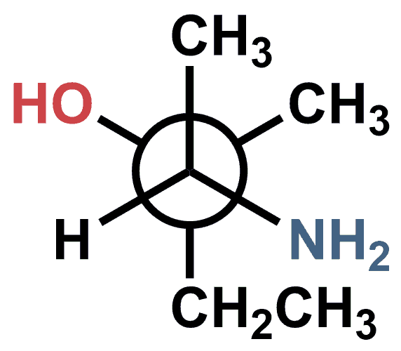 Newman projection of a chiral aminoalcohol